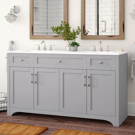 Beachcrest Home Hiroko 60 Double Bathroom Vanity Set   Wayfair
