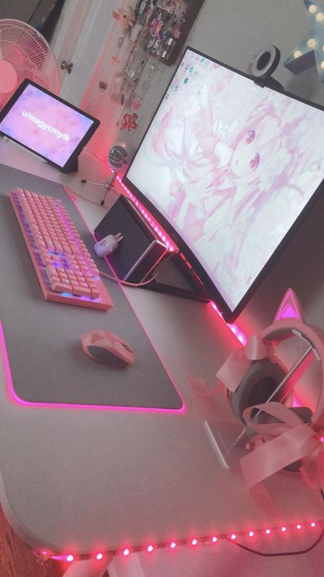 Gamer Setup, Gaming Room Setup, Gaming Rooms, Computer Setup, Pc Setup, Cute Room Ideas, Cute Room Decor, Pink Games, Kawaii Bedroom