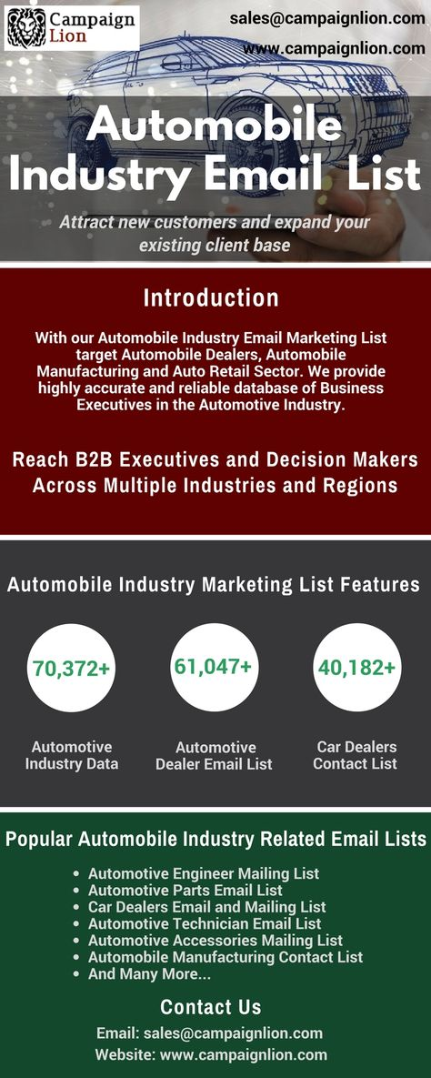 This list of top Automobile Industry Email Marketing List is the - contact list