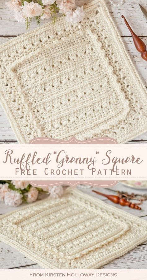 This simple, beautiful crochet granny square pattern uses easy stitches to create lace and a delicate ruffle. It's a perfect crochet blanket idea, or DIY afghan idea for any little girl's room! #freecrochetpatterns #kirstenhollowaydesigns #crochetgrannysquarepatterns #beautifulcrochetblanketpatterns #freecrochetgrannysquareideas #crochetafghanblockpatterns