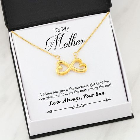 """Buy TODAY & get 50% OFF! Celebrate Your Amazing Mom With Your Heartfelt And Loving Message ❤ ✅ Handmade and Shipping from the USA ✅ Free Gift Box Included ✅ Quality Guaranteed! Surprise your Mom and watch her heart melt when you give it to her! Celebrate your everlasting love and express your affection with a look that says """"I'll love you until the end of time."""" Artisan crafted in 14k White Gold finish or 18k Yellow Gold finish, this heart-shaped infinity symbol is hand polished to show off"""