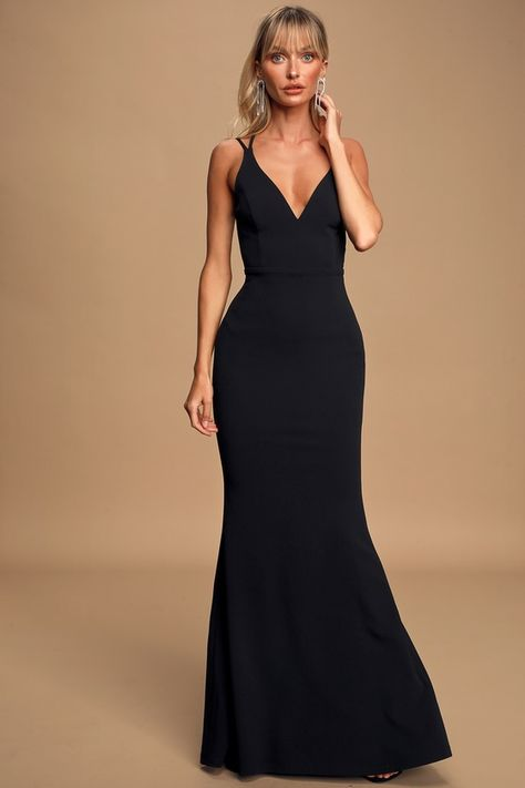 Who could possibly resist you in the Lulus All this Allure Black Strappy Backless Mermaid Maxi Dress? Sexy mermaid maxi with a V-neckline and strappy open back. Black Tie Wedding Guest Dress, Black Tie Wedding Guests, Black Tie Gown, Black Tie Attire, Black Wedding Dresses, Black Maxi, Black Tie Dresses, Black Tie Wedding Attire, Black Weddings