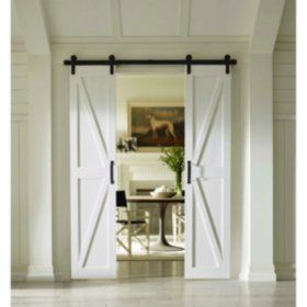 Four Seasons Outdoor Products Split Barn Door Classic White Board And Batten Select Sizes Double Barn Doors Barn Door Glass Barn Doors