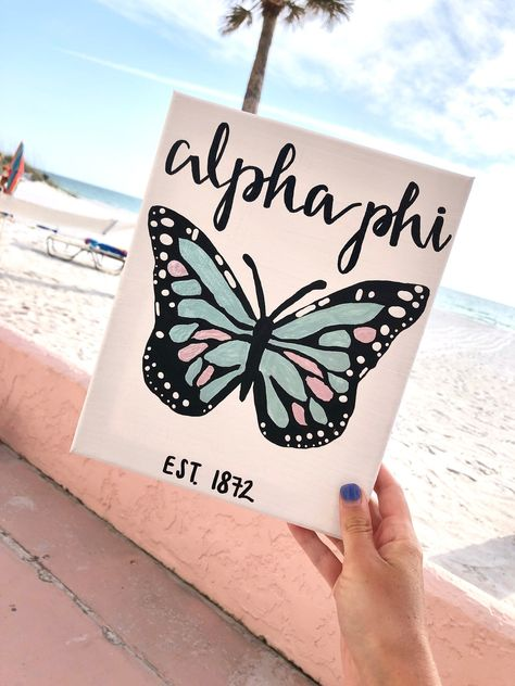 Alpha Phi Butterfly Sorority Canvas // Blue and Pink // Alpha Phi // Customizable // Gifts for Little // Big Little // Dorm // College Big Little Shirts, Big Little Canvas, Sorority Big Little, Big Canvas, Sorority Canvas Paintings, Cute Canvas Paintings, Diy Canvas Art, College Canvas Paintings, Custom Canvas