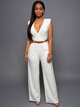 6824c9b72 Ericdress Simple V-Neck Jumpsuits Pants   Styles   Romper long pants ...