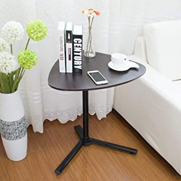 Ytig End Table With Wheels Sofa Side Slide Under Height Adjustable Wooden Laptop Couch Mobi Small Space Office Dark Wood Desk - Slide Under Sofa Laptop Table