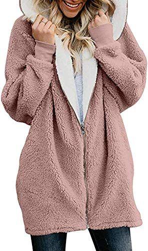 Womens Winter Warm Soft Fluffy Outwear Coat Long Sleeves Loose Fleece Jacket