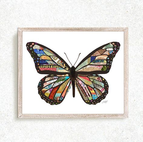 Butterfly Collage Illustration - Art Print