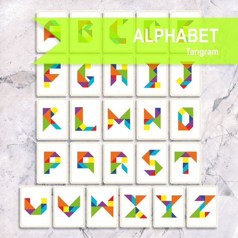 TANGRAM ALPHABET Printable Flash Cards, Montessori Toddler ABC Cards For Kids, Early Learning Montessori Materials for Busy Book