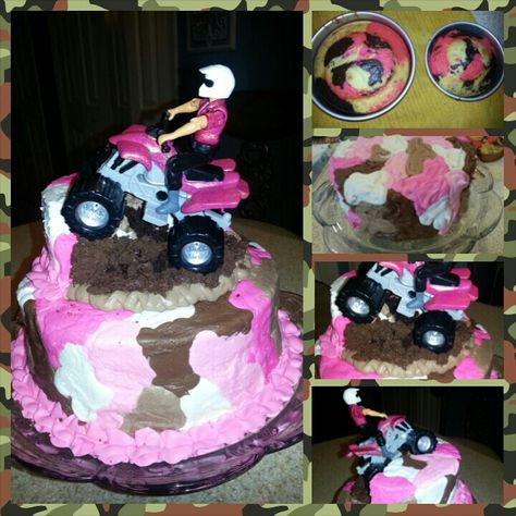 Pink camouflage 4 Wheeler birthday cake