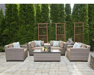 Sol 72 Outdoor Romford 6 Piece Rattan Sofa Seating Group With Cushions Sol 72 Outdoor Outdoor Wicker Patio Furniture Beige Outdoor Furniture Outdoor Furniture Sets