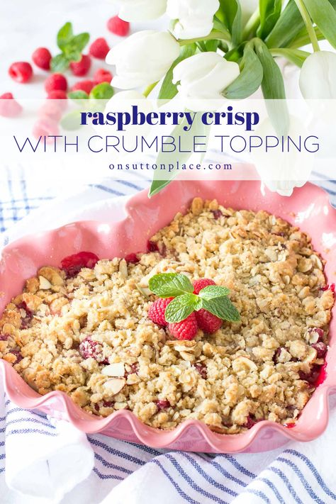 Need a super simple Valentine's Day dessert idea? Make this fresh raspberry crisp recipe and your family will love you! Delicious fresh berries and a crispy topping make this a sweet treat the whole family will love.