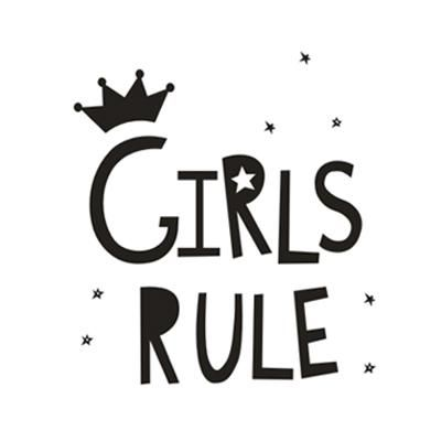 Girls Rule Canvas Painting Black White Minimalist Nordic Posters