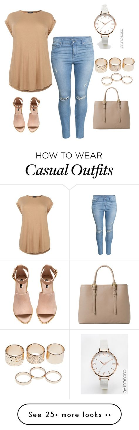 """""""Casual but Cute ."""" by kiaraamonae on Polyvore featuring H&M, ASOS Curve, Wet Seal and MANGO"""