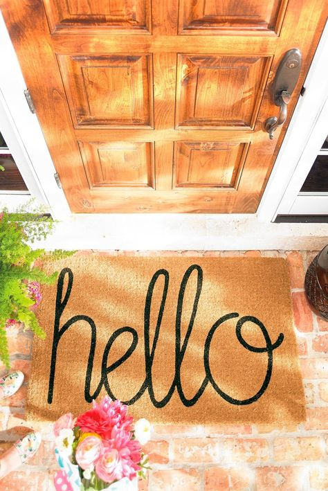 Our Hello Coco Mat extends a proper greeting to everyone who arrives on your threshold. Hand-tufted in 100% natural coir, with thousands of fibers to scrub dirt, slush, and mud off shoes, so indoors space stays clean. Coir naturally resists mold and mildew, and color is printed with acrylic dyes to resist fading. Prolong the life of the mat by placing in a covered area, away from direct sunlight.