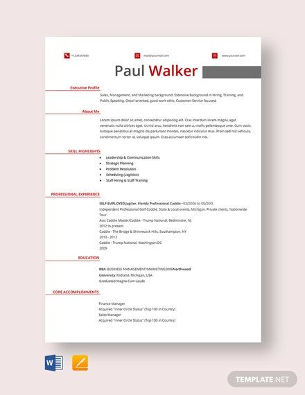 Free Fresher Golf Caddy Resume Template In 2020 Resume Template Word Resume Template Resume Template Free