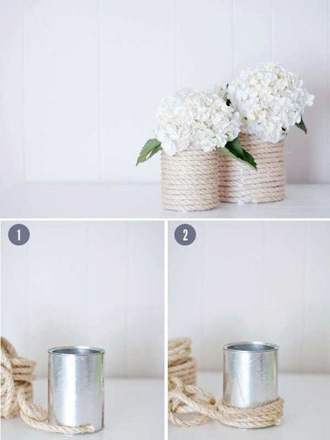 Rope Tin Can Vases