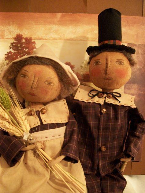 Primitive doll patternadorable Pilgrim couple by Dumplinragamuffin, $10.00