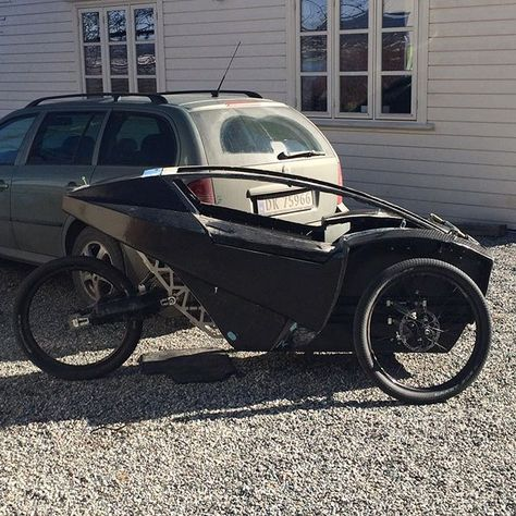Electric Assisted Recumbent Trike First Time On It S Own Wheels Garageproject Carbonbikes Diy Recumbenttrike Recumbentbike Carbonfibe Electric Trike Recumbent Bicycle Electric Cars