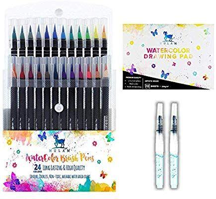 24 Color Watercolor Brush Pen Set By Hulam Bonus 12 Sheet
