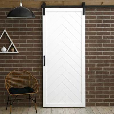 42 In X 84 In Herringbone White Alder Wood Interior Barn Door Slab With Sliding Door Hard In 2020 Diy Barn Door Interior Sliding Barn Doors Sliding Door Hardware Diy