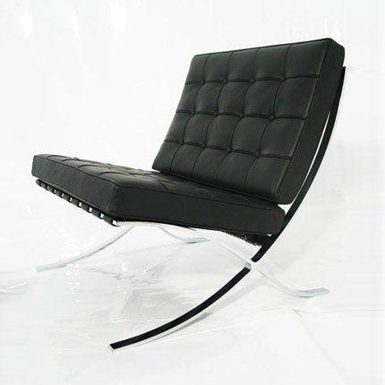 Fauteuil barcelona en cuir noir classique du design minimaliste - Marie Claire Maison