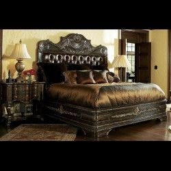 1 High End Master Bedroom Set Carvings And Tufted Leather