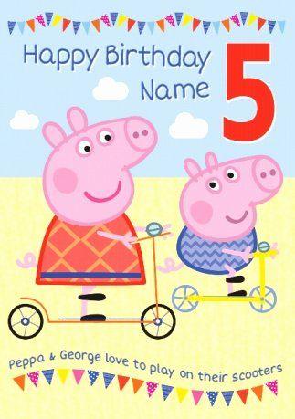 Peppa Pig Birthday Card New Peppa Pig Birthday Card 5 Today Peppa Pig Birthday Pig Birthday Art Birthday Party Invitations