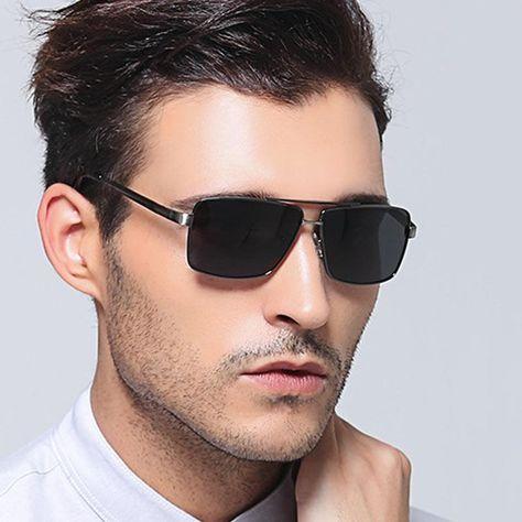 c7967448fd Lvvkee Rectangle Polarized Mens Sunglasses brand designer 2017 retro  vintage eyewear Driving glasses men Grey shades matrix. Yesterday s price   US  17.98 ...