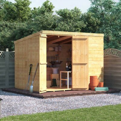 8x6 Tongue Groove Garden Storage Double Door Windowless Pent Roof Wooden Shed Garden Buildings Direct Building A Wood Shed Building A Shed