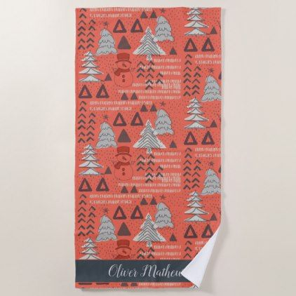 Red Colourful Forest Snowman Winter Christmas Tree Beach Towel