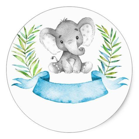 Watercolor Elephant Boy Baby Shower Classic Round Sticker | Zazzle.com