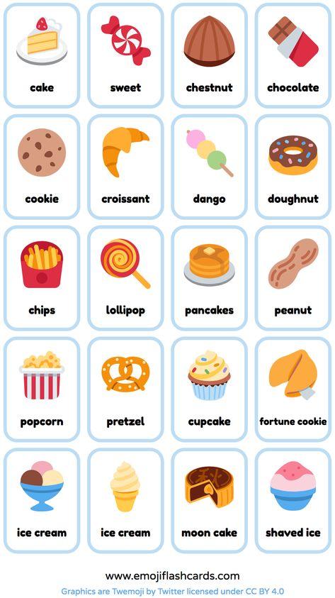 Free Snacks and Deserts English Printable Flashcards - made from emoji. (ESL Flashcards) #teachenglish #learnenglish #studyenglish