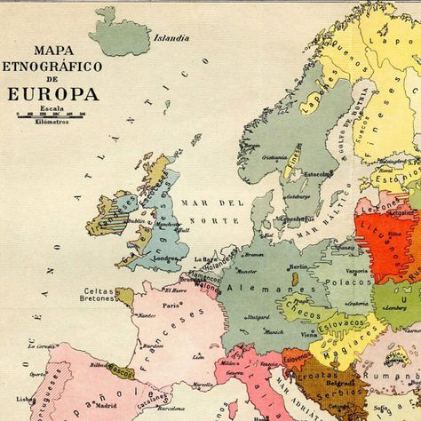 1920s Europe Map.Vintage Ethnographic Map Of Europe 1920s Ethnic Groups Politika