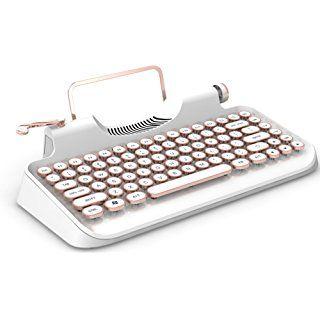 Hand Built Mechanical Retro Keyboard Wireless Bluetooth Connection Abs Engineering Plastic Three Layer Paint White Keyboard Typewriter Retro Typewriter