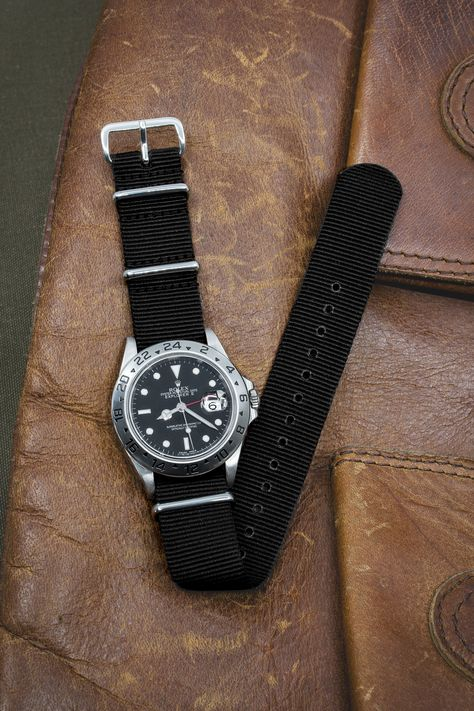 Rolex Explorer 2 - also available for sale. Nato Watch Straps in BLACK with Polished Buckle and Keepers – WatchObsession