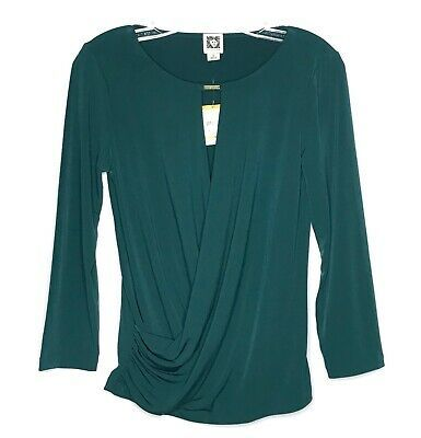 NWT Anne Klein Women's Drape Front Blouse Green Sz S #fashion #clothing #shoes #accessories #women #womensclothing (ebay link)