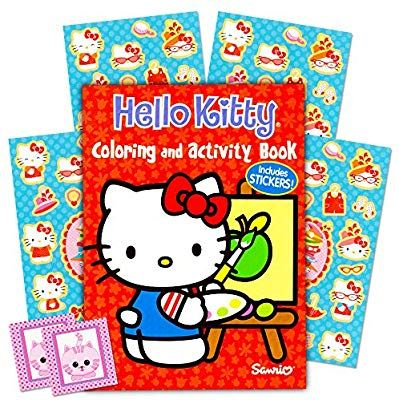 Amazon Com Hello Kitty Coloring Book And Stickers 96 Pg Coloring Book And Over 80 Hello Kitty Stickers P Hello Kitty Coloring Cat Coloring Book Cat Stickers
