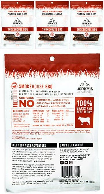 100 Grass Fed Beef Jerky 3 Pack Smokehouse Bbq Keto Friendly Protein Snacks Gluten Free No Nitrates Artificial Preservatives Antibiotics Or Hormones B Grass Fed Beef Jerky Beef Jerky Protein Snacks