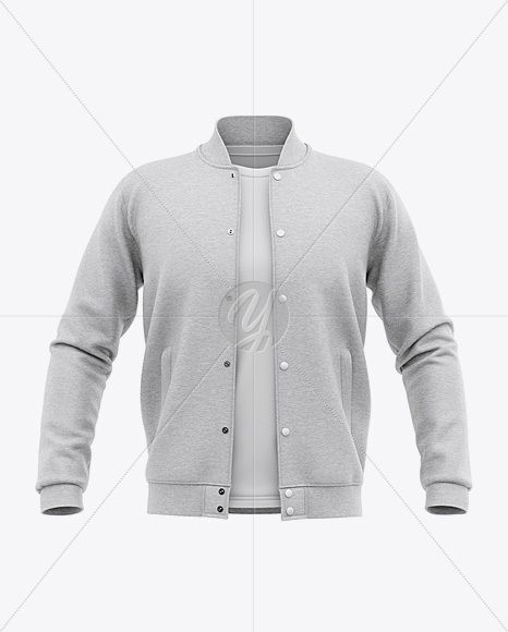 Download Open Heather Varsity Jacket Mockup Front View Baseball Bomber Jacket And T Shirt In Apparel Mockups On Yellow Images Object Mockups Clothing Mockup Shirt Mockup Mockup Free Psd