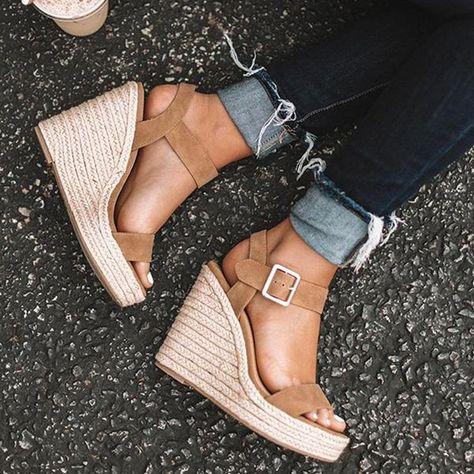 cc0176c6c Shop Shoes - lovisboutique Shoes Wedge Heel Gray Elegant Open Toe Shoes  online. Discover unique designers fashion at lovisboutique.com.