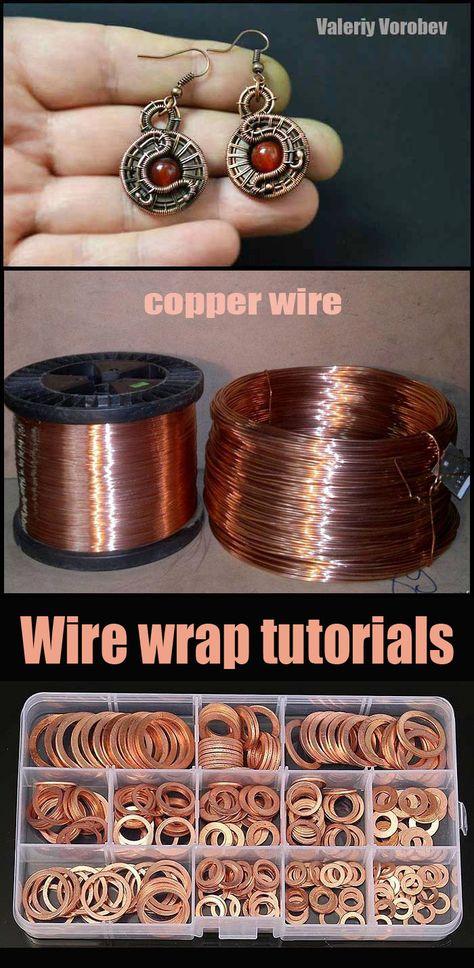 Wire Crafts, Jewelry Crafts, Handmade Jewelry, Wire Jewelry Designs, Jewelry Patterns, Wire Wrapped Earrings, Wire Earrings, Copper Jewelry, Copper Wire