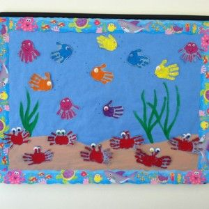 Make a card that's an underwater scene with kids handprints as fish, and seaweed from crepe paper, and bubbles from earbud dots of paint, and writeUnder the Sea Bulletin Board - Bing imagesaquarium bulletin board ideas « Preschool and Homeschoolbulletin