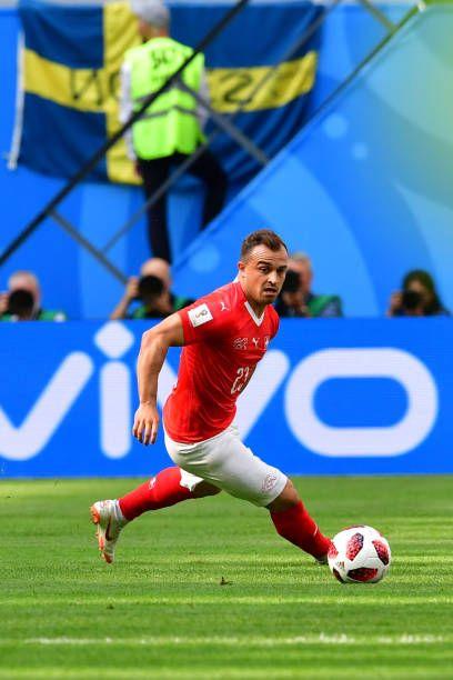 Switzerland S Forward Xherdan Shaqiri Controls The Ball During The