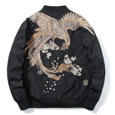 THIN SATIN SOUVENIR BOMBER JACKET KOREA W DRAGON EMBROIDERY