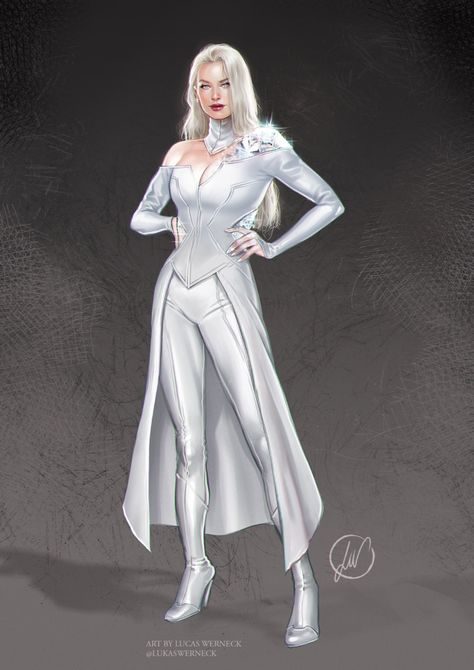 Art Vault — Emma Frost by Lukas Werneck * Xmen, Marvel Characters, Female Characters, Emma Frost Costume, Super Hero Outfits, Super Hero Costumes, Superhero Design, Marvel Women, Marvel Dc Comics