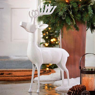 Road To Christmas  Cast 2020 White Cast aluminum Standing Deer | Grandin Road in 2020 | Outdoor