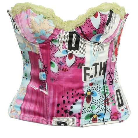 """Christian Dior by John Galliano Silk """"Filth"""" Print Bustier Pretty Outfits, Cute Outfits, Quirky Fashion, John Galliano, Aesthetic Clothes, Fashion Beauty, Steampunk Fashion, Gothic Fashion, Style Me"""