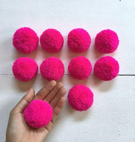 Excited to share the latest addition to my #etsy shop: Hot Pink Big Pom Pom 2 inches, Boho Decor Party Supplies yarn pom pom #supplies #hatmakinghaircrafts #pompom #hmongpompom #pompoms #garlandpompom #partypompom #handmadepompom