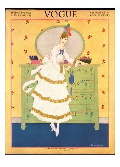 Premium Giclee Print: Vogue Cover - February 1915 Art Print by Helen Dryden :